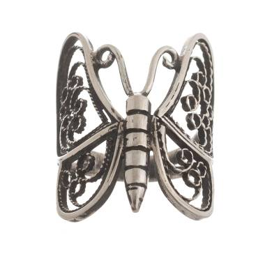 Sterling silver filigree cocktail ring, 'Dark Wings of Lace' - Oxidized Sterling Silver Butterfly Ring