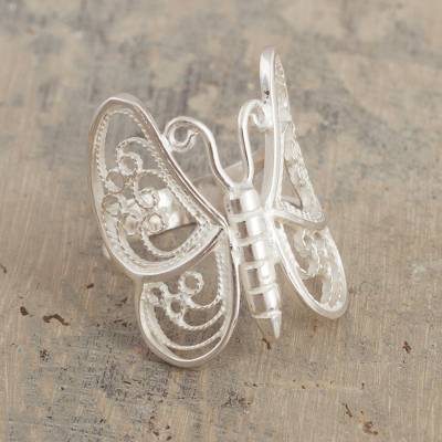 Sterling silver filigree cocktail ring, 'Wings of Lace' - Artisan Crafted Filigree Butterfly Ring