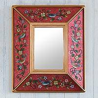 Reverse-painted glass wall mirror, 'Birdsong in Red' - Small Red Floral Reverse-Painted Glass Mirror