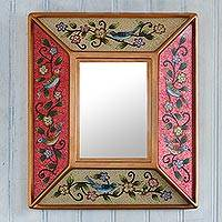 Reverse-painted glass wall mirror, 'Birdsong in Red and Ivory' - Peruvian Reverse-Painted Glass Mirror