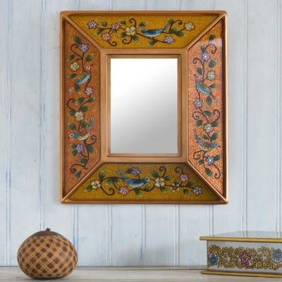 Reverse-painted glass wall mirror, 'Birdsong in Gold' - Bird Themed Reverse-Painted Glass Mirror