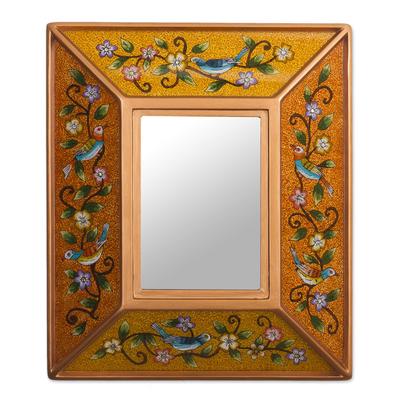 Bird Themed Reverse-Painted Glass Mirror