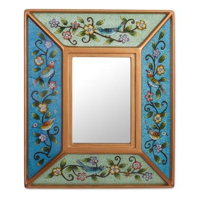 Floral Reverse-Painted Glass Wall Mirror