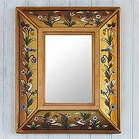 Reverse-painted glass wall mirror, 'Golden Dawn' - Gold Toned Reverse-Painted Wall Mirror