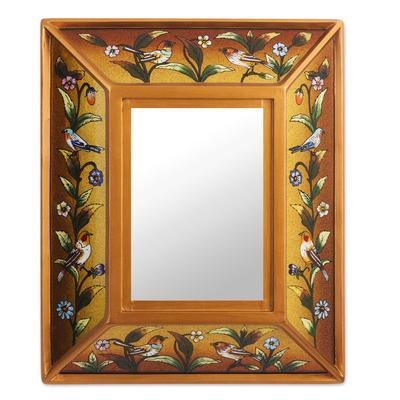 Reverse-painted glass wall mirror, 'Golden Dawn' - Gold Toned Reverse-Painted Wall Mirror