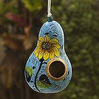 Hand painted gourd birdhouse, Sunflower and Sky