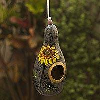 Dried gourd birdhouse, 'Sunflower and Earth' - Sunflower Motif Dried Gourd Birdhouse