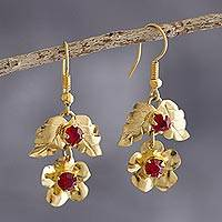 Gold-flashed dangle earrings, 'Inverted Rose' - Floral Earrings in Gold-Flashed Bronze