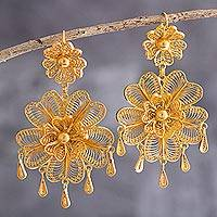 Gold-plated filigree chandelier earrings, 'Marinera Whirl' - 18k Gold-Plated Filigree Earrings
