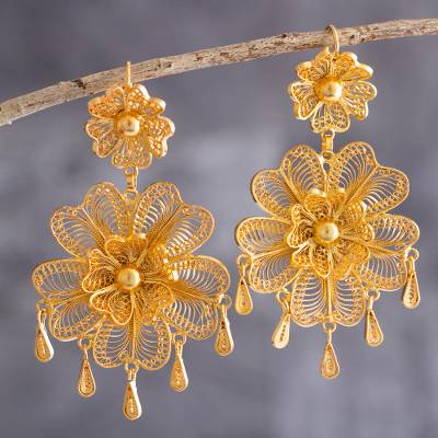 Gold-plated filigree chandelier earrings, Marinera Whirl
