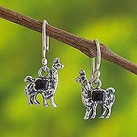 Onyx dangle earrings, 'Andean Llama in Black' - Peruvian Silver and Onyx Llama Dangle Earrings