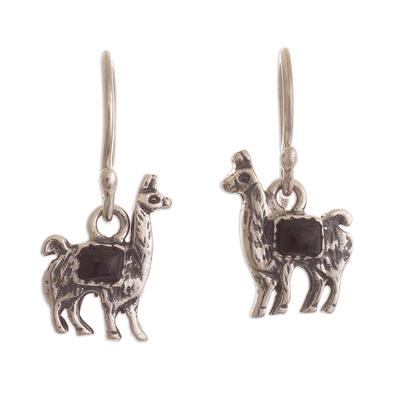 Peruvian Silver and Onyx Llama Dangle Earrings