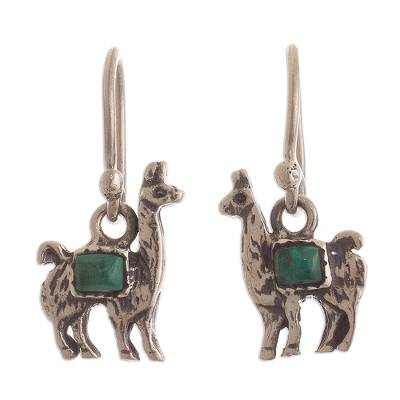 Peruvian Silver and Chrysocolla Llama Dangle Earrings
