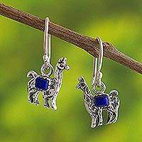 Lapis lazuli dangle earrings, 'Andean Llama in Blue' - Peruvian Silver and Lapis Lazuli Llama Dangle Earrings