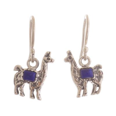 Peruvian Silver and Lapis Lazuli Llama Dangle Earrings