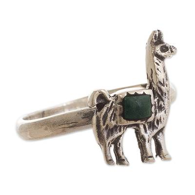 Chrysocolla and Silver Llama Cocktail Ring from Peru