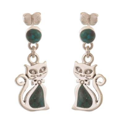 Green Chrysocolla and Silver Cat Dangle Earrings
