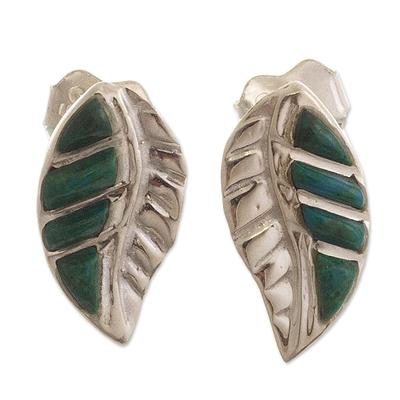Peruvian Chrysocolla and Silver Drop Earrings