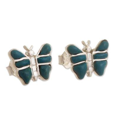 Peruvian Silver Stud Butterfly Earrings with Chrysocolla