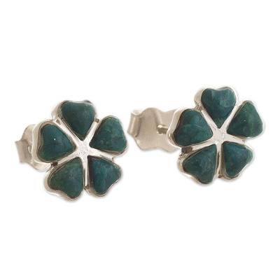 Peruvian Silver Stud Clover Earrings with Chrysocolla