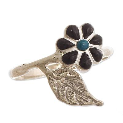Peruvian Chrysocolla and Onyx Flower Cocktail Ring