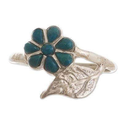Peruvian Chrysocolla and Silver Flower Ring with Leaf