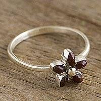 Mahogany obsidian cocktail ring, 'Andean Star in Brown' - Andean Silver and Mahogany Obsidian Flower Ring