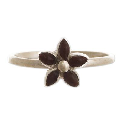 Andean Silver and Mahogany Obsidian Flower Ring