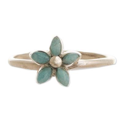 Andean Silver and Amazonite Flower Ring