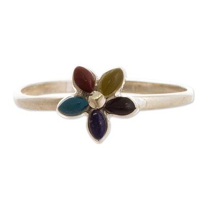 Andean Silver and Gemstone Flower Ring