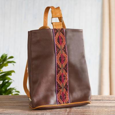 Leather backpack with hand-woven detail, 'Andean Adventure' - Leather Backpack With Hand-woven Wool Detail From Peru