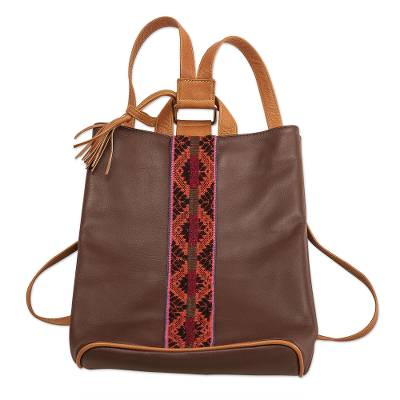 Leather Backpack With Hand-woven Wool Detail From Peru