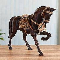 Cedar sculpture, 'Prancing Peruvian Paso Horse' - Artisan Crafted Hand Carved Cedar Wood Paso Horse Sculpture