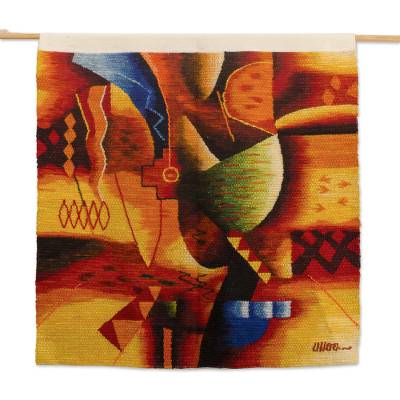 Hand-Loomed Abstract Wool Tapestry From Peru