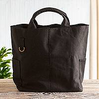 Black canvas tote bag, 'Voyages' - Black Cotton Canvas Tote Bag From Peru