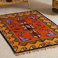 Wool area rug, 'Sophistication' (2.5x5) - Multicolored Wool Rug (2.5x4)