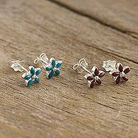 Chrysocolla and lapiz lazuli stud earrings, 'Twin Stars in Red & Turquoise' (pair) - Andean Silver and Gemstone Earrings Set of 2 Pairs