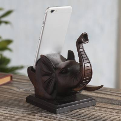 Wood phone holder, Wise Brown Elephant