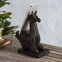Wood phone stand, 'Prancing Llama' - Hand-carved Llama Wood Phone Holder From Peru