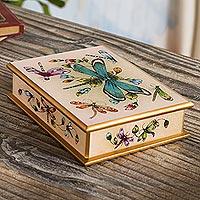 Reverse-painted glass decorative box, 'Blush Pink Dragonfly Days' - Andean Reverse-Painted Glass Dragonfly Box in Blush Pink