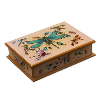 Andean Reverse-Painted Glass Dragonfly Box in Blush Pink