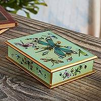 Reverse-painted glass decorative box, 'Mint Green Dragonfly Days'