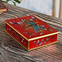 Reverse-painted glass decorative box, 'Red Dragonfly Days'