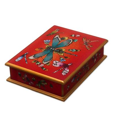 Andean Reverse-Painted Glass Dragonfly Box in Red