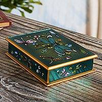 Reverse-painted glass decorative box, 'Emerald Green Dragonfly Days'