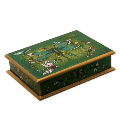 Andean Reverse-Painted Glass Dragonfly Box in Emerald Green