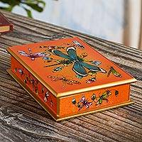 Reverse-painted glass decorative box, 'Tangerine Dragonfly Days'