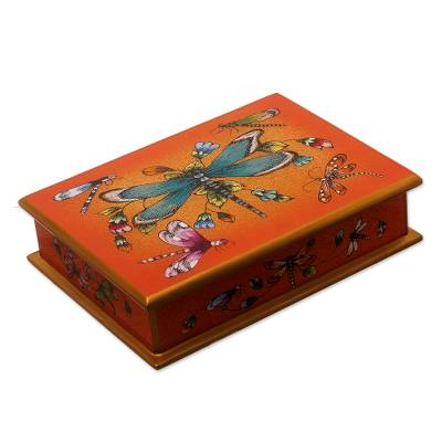 Andean Reverse-Painted Glass Dragonfly Box in Tangerine