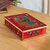 Reverse-painted glass decorative box, 'Ruby Red Dragonfly Days'