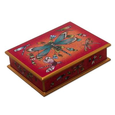 Andean Reverse-Painted Glass Dragonfly Box in Ruby Red